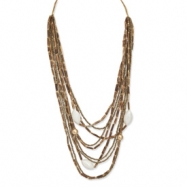 """Gold-tone Bamboo, Silver Mouth Shell & White Wood Aster Necklace"""""""""""