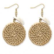 Gold-tone Freshwater Clam Shell & Wicker Dangle Earrings
