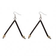 Silver-tone Bamboo, Coconut & Tiger Nasa Shell Dangle Earrings