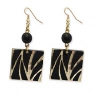 Gold-tone White Wood Aster & Laminated Capiz Shell Dangle Earrings