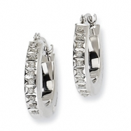 14k White Gold Diamond Fascination Round Hinged Hoop Earrings
