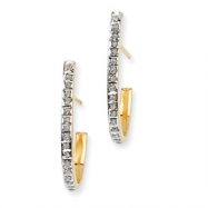 14k Diamond Fascination Post J Hoop Earrings