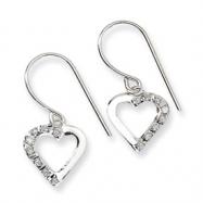 14k White Gold Diamond Fascination Heart Earrings