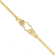14k  Polished Antiqued Heart Anklet