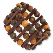 Brown, Olive & Orange Hamba Wood Stretch Bracelet