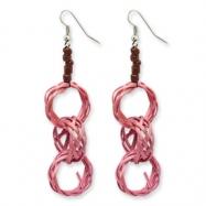 Silver-tone Wicker Rings & Acrylic Bead Dangle Earrings ring