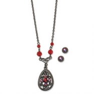 Black-plated Red Crystal Filigree Earrings & 16in Necklace Set