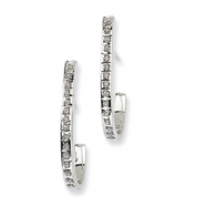 14k White Gold Diamond Fascination Post J Hoop Earrings