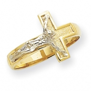 14k Two-tone Polished & Diamond-Cut Mens Crucifix Ring