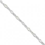 Sterling Silver 9inch Solid Polished Fancy Knot-Link Anklet
