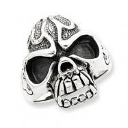 Sterling Silver Antiqued Skull Ring