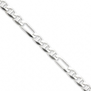 Sterling Silver 6.5mm Figaro Anchor Chain