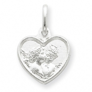 Sterling Silver Satin Angel Heart Charm