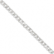 Sterling Silver 7.5mm Pave Curb Chain