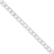 Sterling Silver 8mm Pave Curb Chain anklet