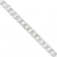 Sterling Silver 10.5mm Pave Curb Chain anklet