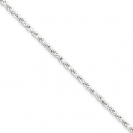 Sterling Silver 1.75mm Diamond-cut Rope Chain anklet