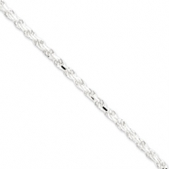 Sterling Silver 3.5mm Diamond-cut Rope Chain anklet