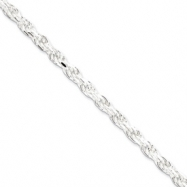 Sterling Silver 4.75mm Diamond-cut Rope Chain anklet