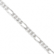Sterling Silver 8mm Pave Flat Figaro Chain bracelet