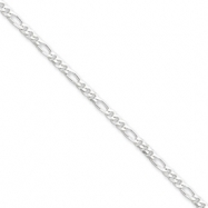Sterling Silver 3mm Figaro Chain anklet