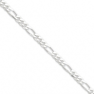 Sterling Silver 4.25mm Figaro Chain anklet