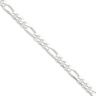 Sterling Silver 6.5mm Figaro Chain anklet