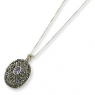 Sterling Silver Marcasite & Amethyst Locket on 24 Chain Necklace chain