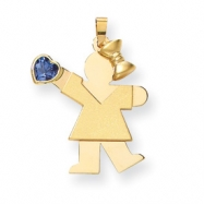 14k Girl with CZ December Birthstone Charm