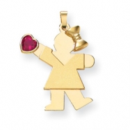 14k Girl with CZ July Birthstone Charm