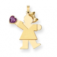 14k Girl with CZ June Birthstone Charm
