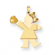 14k Girl with CZ November Birthstone Charm