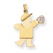 14k Boy with CZ April Birthstone Charm