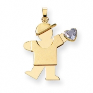 14k Boy with CZ March Birthstone Charm