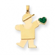 14k Boy with CZ May Birthstone Charm