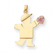 14k Boy with CZ October Birthstone Charm