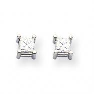 14k White Gold AA Quality Complete Princess Cut Diamond Earrings
