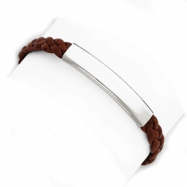 Sterling Silver Brown Braided Leather Bracelet