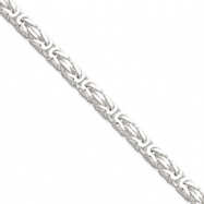 Sterling Silver 5mm Square Byzantine Chain anklet