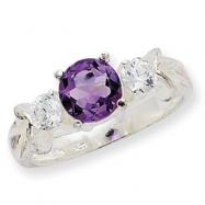 Sterling Silver Amethyst and CZ Ring