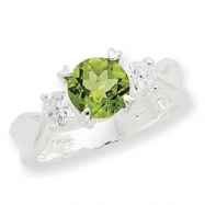 Sterling Silver Peridot & CZ Ring