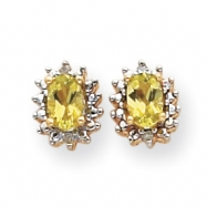 14k .04ct Diamond & Peridot Birthstone Earrings