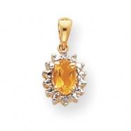 14k Diamond & Citrine Birthstone Pendant