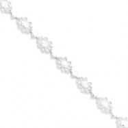 Sterling Silver Polished Fancy Floral CZ Bracelet