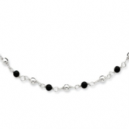 Sterling Silver 7inch Polished Onyx Beaded Bracelet