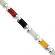 Sterling Silver Open-Backed Multi-colored Jade & Onyx Bracelet
