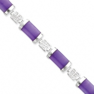 Sterling Silver 7inch Polished Open-Backed Lavender Jade Bracelet