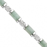 Sterling Silver 7inch Polished Open-Backed Green Jade Bracelet