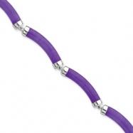 Sterling Silver 7inch Polished Lavender Jade Bracelet
