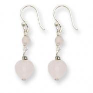 Sterling Silver Rose Quartz Heart Dangle Earrings